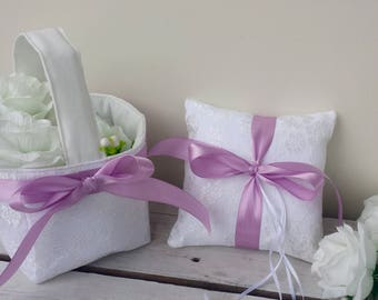 Lace ring pillow, lace flower girl basket