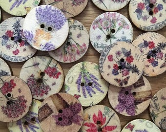 15 vintage style buttons, flower buttons , wooden vintage style buttons, craft buttons
