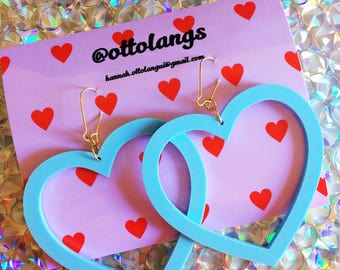kitsch kawaii perspex baby blue pastel over sized heart dangle earrings