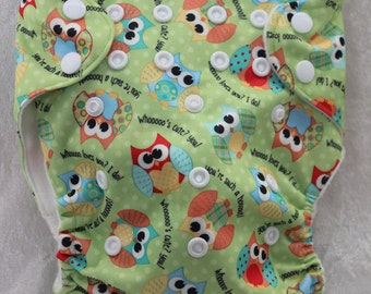 Owl cloth diaper- One size- OS pocket diaper