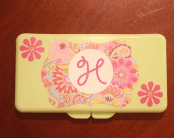 Paisley Personalized Diaper Wipe Case with Initial
