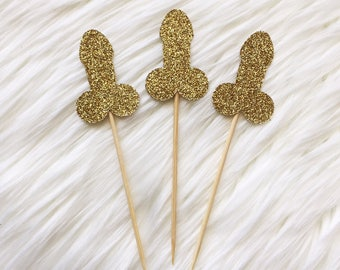 10 x Penis - Bachelorette - Hens - Party - Cupcake Cake Topper - Decoration - Glitter - Gold Any Colour - Decor