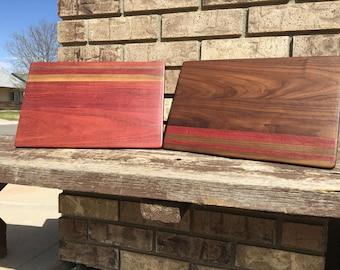 Cutting board, rustic decor, kitchen decor, walnut, Purple heart wood, centerpiece, wedding, gift