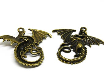 1 DRAGON-  Games of Thrones-  Targaryen -Antique  Bronze Charm - Pendants