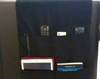 Black Velvet Fabric Organizer,Remote Control Holder,Remote Control Caddy,Couch Organizer,Sofa Organizer, Chair Fabric Organizers