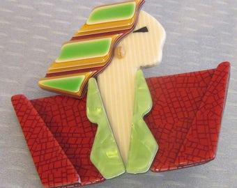Lea Stein Paris CARMEN JOAN CRAWFORD deco lady green hair cellulose acetate plastic brooch pin