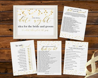 Gold Foiled Bridal Shower Games Printable