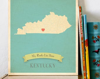 BUY 2 GET 1 FREE  Kentucky Roots Map 11x14 Customized Print