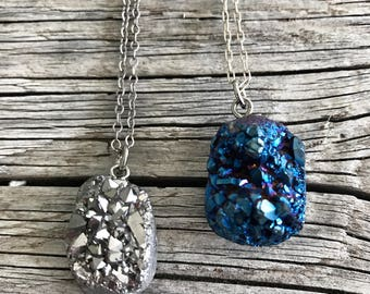 Druzy pendant on petite silver chain