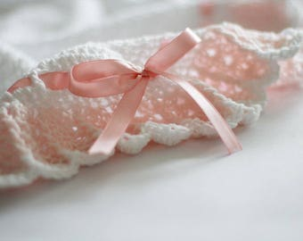 Crochet Baby Blanket White Salmon Pink , Christening, Baptism, Baby Shower Gift Satin Ribbon Handmade Crochet Granny Square