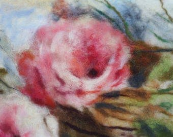 felted roses painting