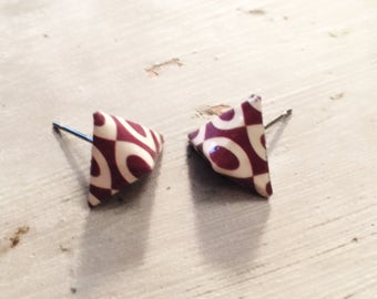 Chips nails earrings, Brown, geometric origami, Pyramid studs, origami earrings, geometric origami studs, brown