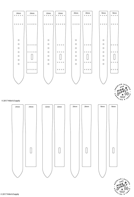 leather watch strap band template pattern guide set 18mm 20mm 22mm 24mm pdf illustrator size. Black Bedroom Furniture Sets. Home Design Ideas