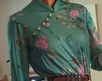 Teal Floral Cheongsam Chinese Style Vintage Dress Union Made Fits Most Sizes