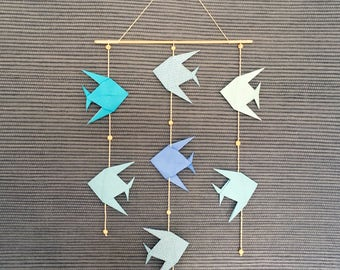 Mobile fish blue, Decoration, baby shower gift