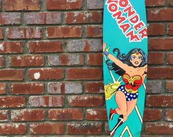 Acrylic on wood wonder woman longboard
