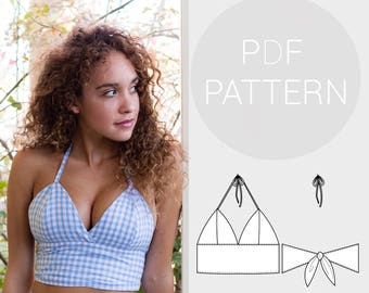 Womens halter neck bralet style cropped-top, with tie back fastening. PDF printable sewing pattern.