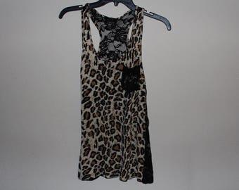 Cheetah Print Tank Top With Lace Back Medium