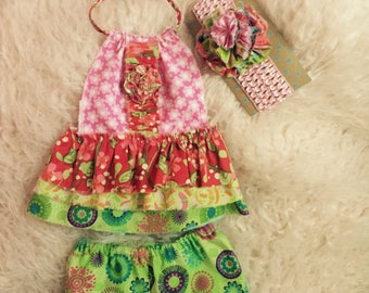 Newborn multicolored romper! Coming home outfit. Fun photo prop for spring or summer.