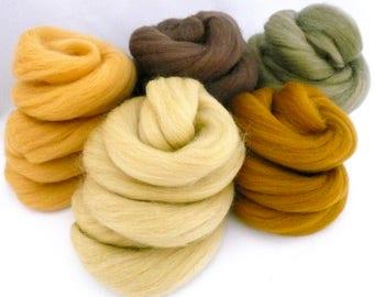 Merino Colour Set, Needle Felting, Merino Colours, Merino Roving, Spinning Fibres, Nuno felting Wool, Carded Wool, Fibre Art,Shades Mustard