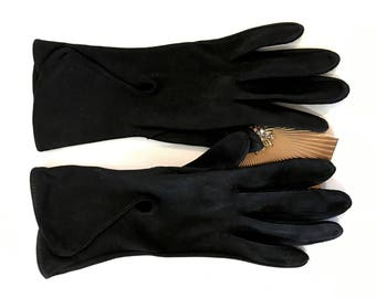 Vintage Black  Evening gloves ( 4 sets) long, mid and short in black and a pair of mid white scolloped edged gloves