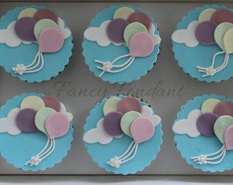 12 Edible Fondant Balloon Cupcake Decorations Toppers