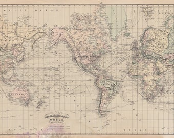 Vintage World Map 1882
