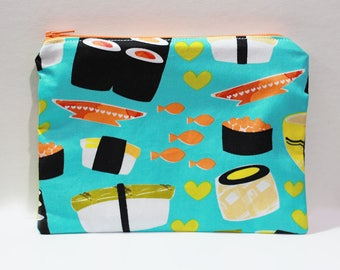 Sushi Brightens My Day Soft Cotton Pouch | Change Purse