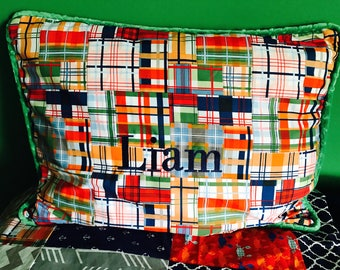 Personalized Preppy Madras Plaid Pillow with Green Piping; Customized Pillow