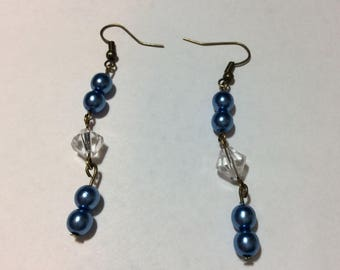 """""""Renaissance Pearl blue and his Austrian Crystal"""" earrings"""