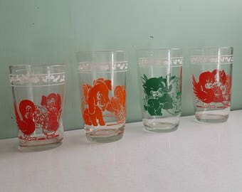 Vintage Set of Four Swanky Swig Animal Juice Glasses