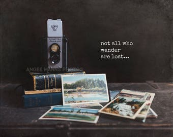 Still Life Photography, Vintage Camera, Vintage Books, Inspirational Quote, Wander