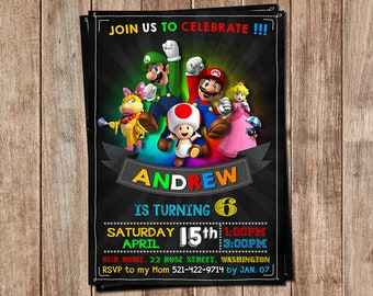 Super Mario invitation - Super Mario birthday invitation - Super Mario birthday - Super Mario Invite - Super Mario Tag - Any age invitation