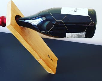 Handmade wine bottle holder self balancing display