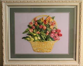 "Painting with ribbons ""Basket of Tulips"""