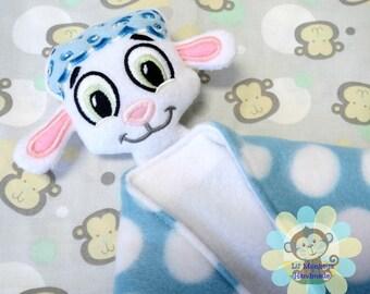 Boy Lamb Sensory Security Blanket Lovey/Small Size