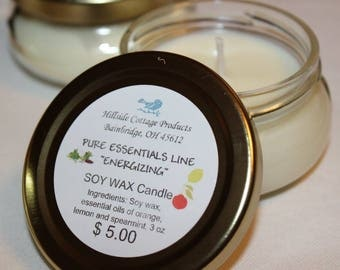 "CANDLE Pure Essential Oil ""ENERGIZING"" Soy Wax Candle"