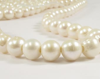 10-11 mm AA Large Hole Potato / Semi Round Natural White Freshwater Pearl Beads Hole 2.2 mm, Natural White Cultured Pearls (41-LHPW1011)