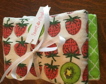 Sweet Amelia Strawberry Kiwi Burp Cloth Set Gender Neutral