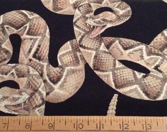 Diamondback rattlesnakes cotton fabric by the yard