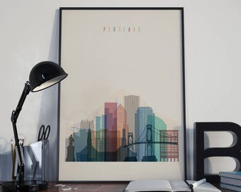 Portland Art Portland Watercolor Portland Multicolor Portland Wall Art Portland Wall Decor Portland Home Decor Portland City Portland Poster