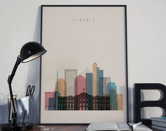 Phoenix Art Phoenix Watercolor Phoenix Multicolor Phoenix Wall Art Phoenix Wall Decor Phoenix Home Decor Phoenix Skyline Phoenix Print
