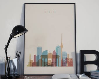 Berlin Art Berlin Watercolor Berlin Wall Art Berlin Multicolor Berlin Skyline Berlin Wall Decor Berlin Poster Berlin Home Decor Berlin Print