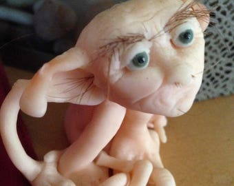 "Elf Fairy OOAK Handmade Art Doll Polymer Sculpture ""Bornbazine"""