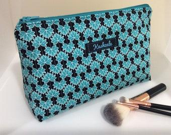 Cosmetic Bag, Make Up Bag, Travel Bag, Toiletry Bag, Medium size. Gift. Australian Made.  Black and Turquoise Lotus Print. (Kashya)