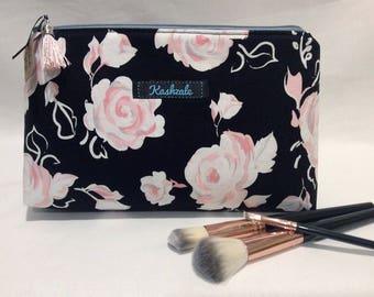 Cosmetic Bag, Make Up Bag, Medium Cosmetic Bag, Medium Makeup Bag, Travel Bag, Toiletry Bag, Zipper Pouch, Black, Pink, Pink Roses.