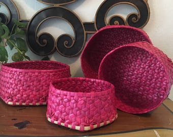 Vintage Nesting Baskets, Red and Tan Woven Mexican Hexagonal Wall Baskets, set of 4
