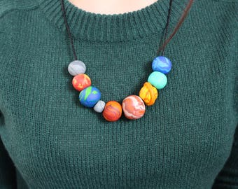 Planets solar system polymer clay necklace