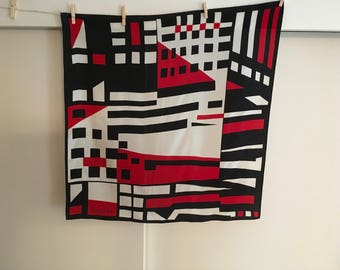 Red Black and White Christian Fischbacher Scarf