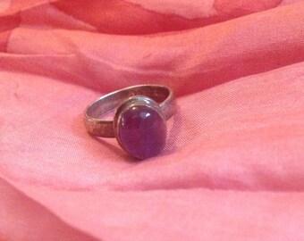 Amethyst Chakra Balance Ring Sterling Silver and Amethyst Gemstone